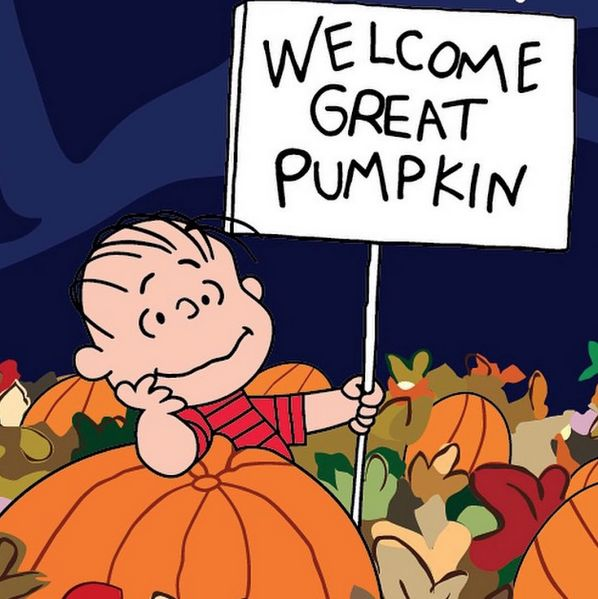 A character from Charlie Brown is waiting patiently for the Great Pumpkin