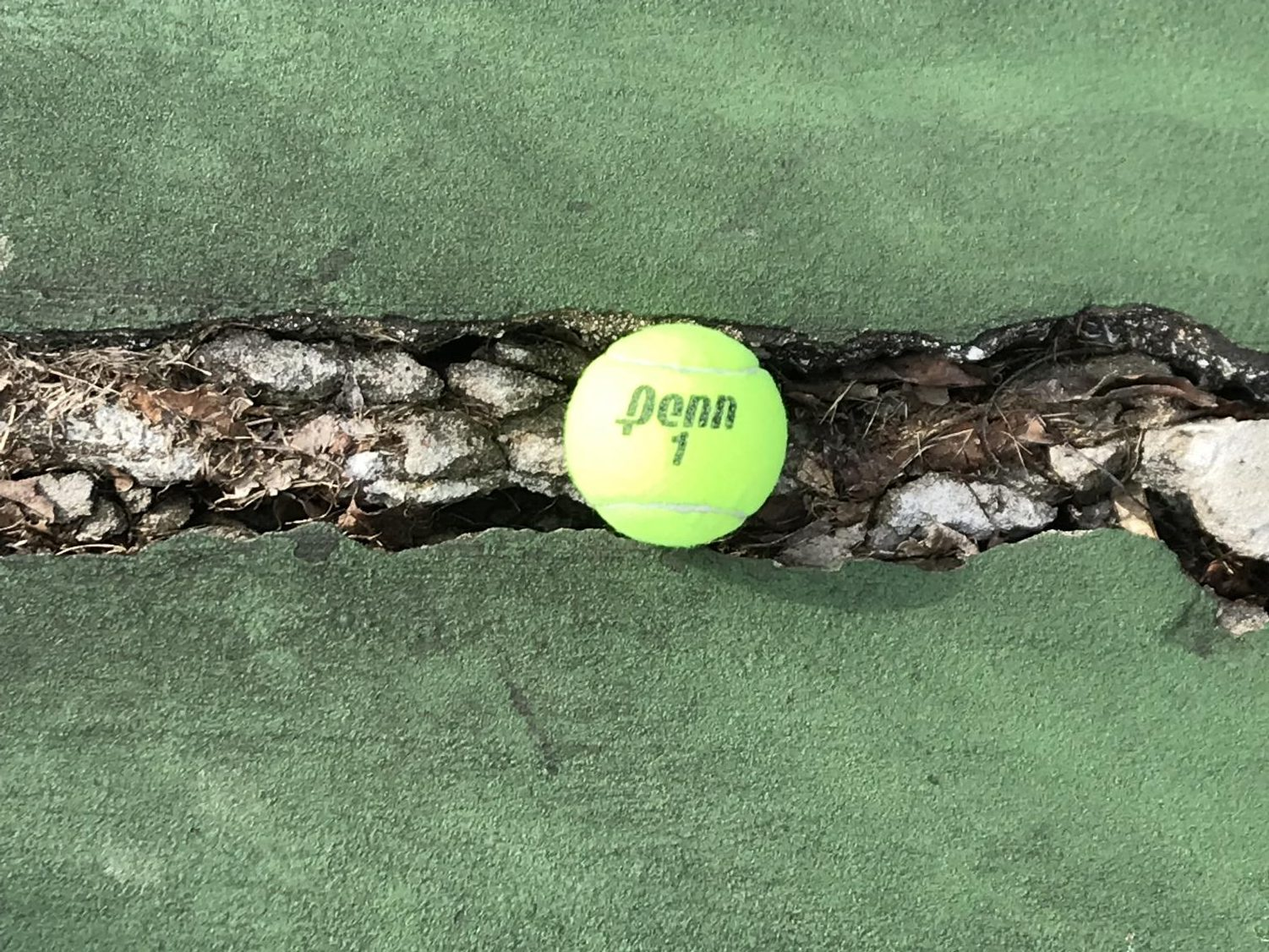 One of the cracks on the tennis courts.