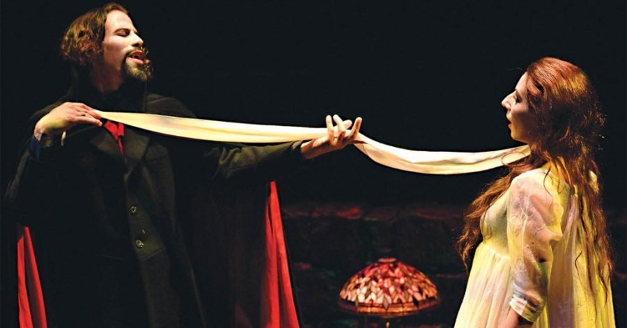 Santino Craven (left) and Rin Allen (right) performing a scene from the show Dracula. Photo by Jonathan Roberts