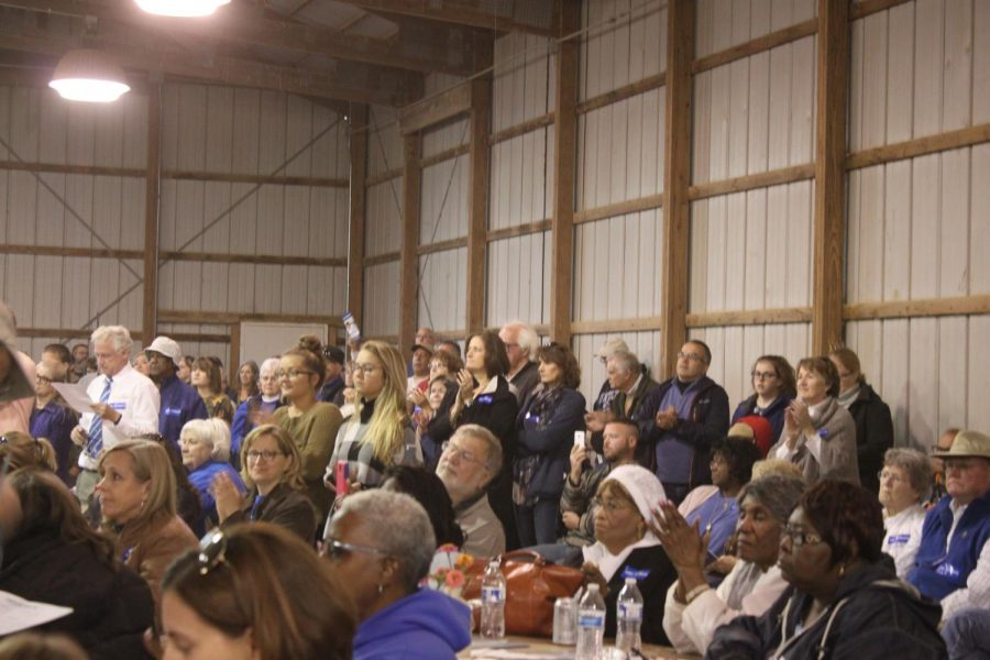 The crowd anxiously waits for the rally to start