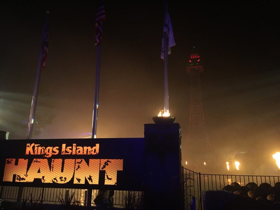 Kings Island's famous sign and spooky Eiffel tower.