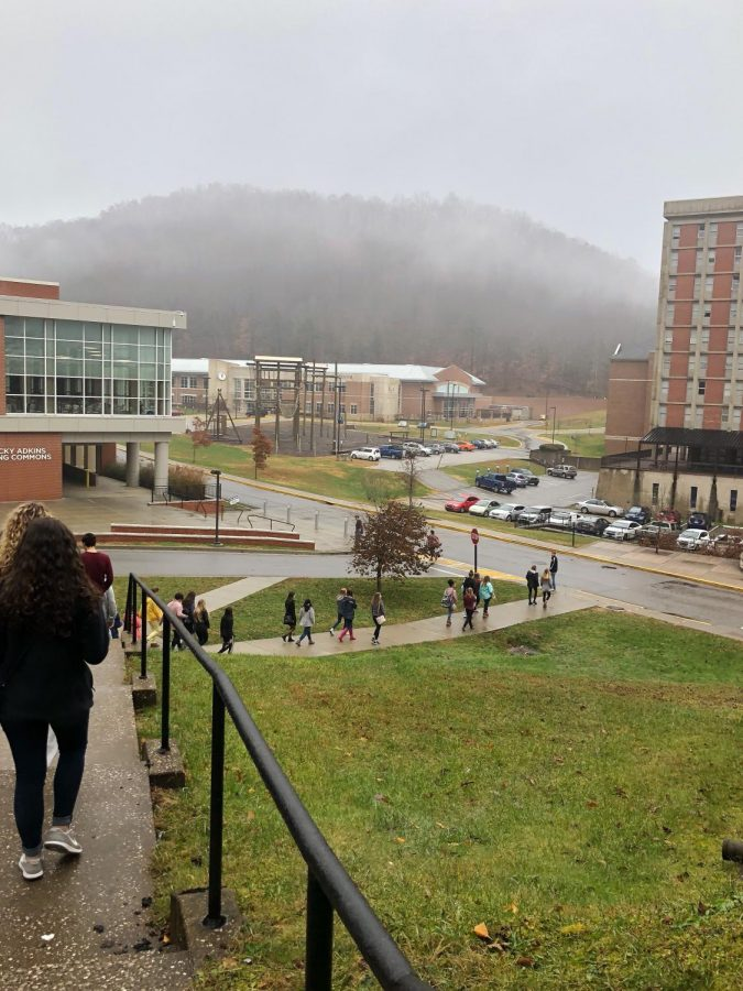 WCHS students walking down to MSU's Athletics Center, which includes a pool, basketball court, gym, and even a bowling lane.