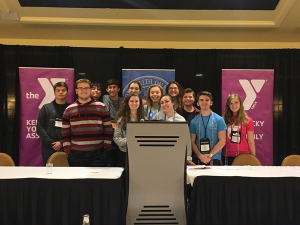 The Y-Club Seniors enjoy their last moments at the KYA conference at the Marriott Hotel in Louisville on Saturday, Nov. 17, 2018.