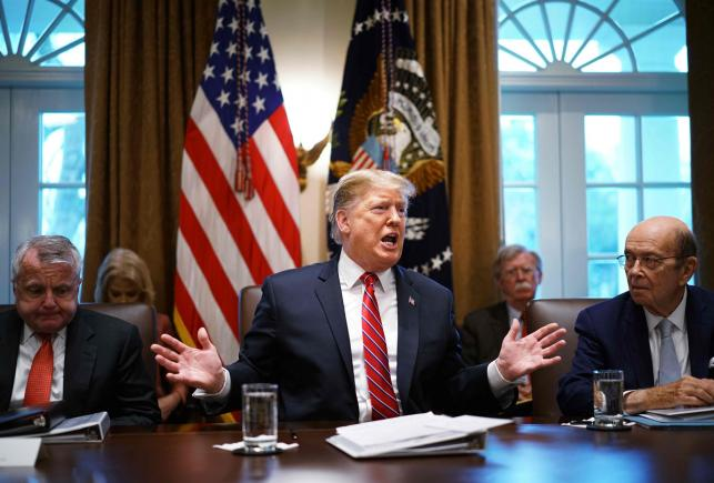 President Donald Trump speaking during cabinet meeting in the Cabinet room of the White house, photo taken by AFP on February 12, 2019.