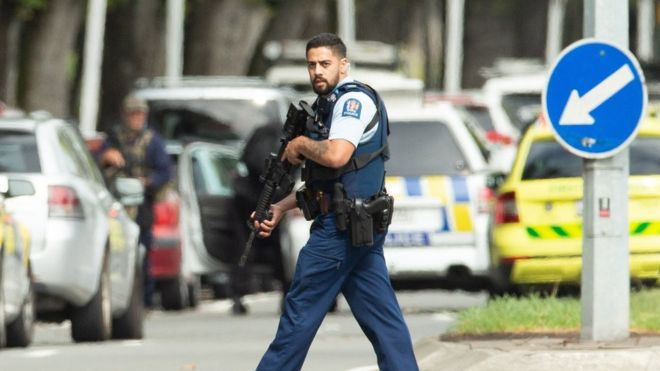 Officer on site of the shooting, photo courtesy of the BBC