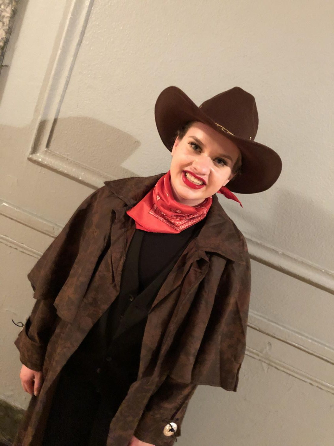 Emma Wesley in costume for Outlaws. Photo by Kristen Bailey.