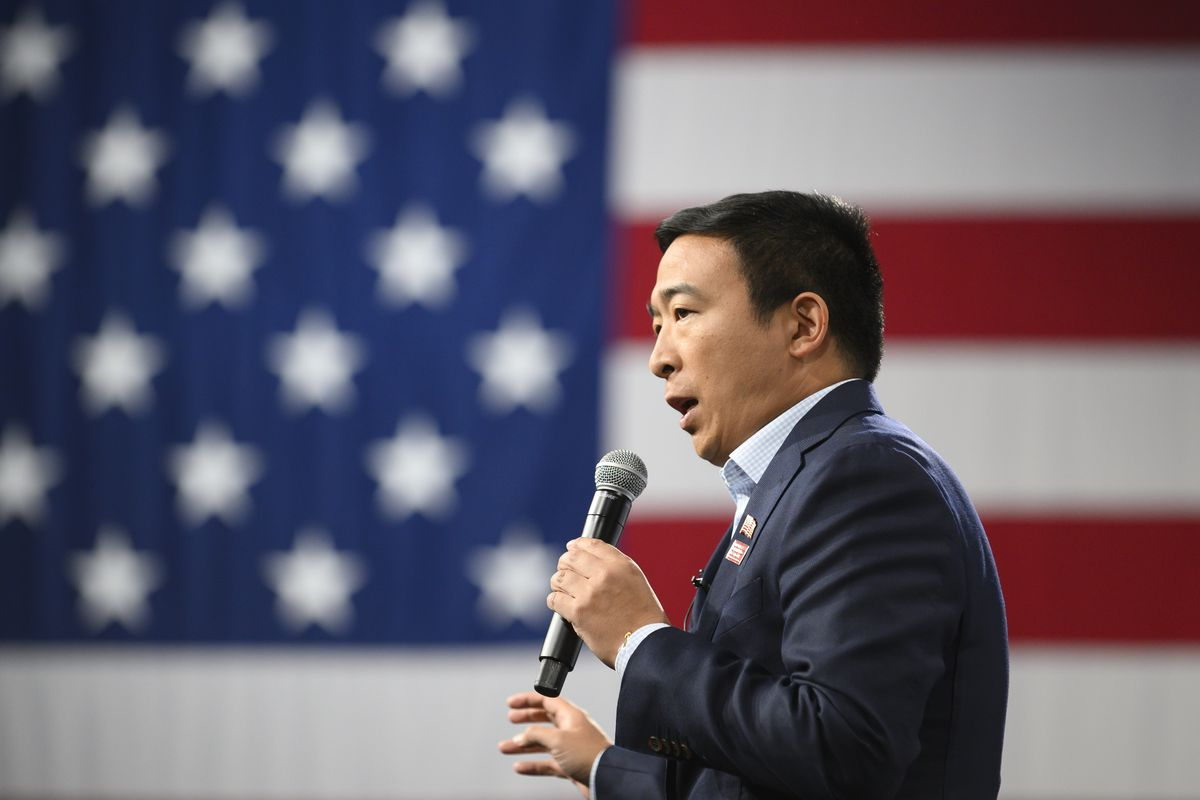 Democratic Candidate Andrew Yang speaking at a forum in Iowa.