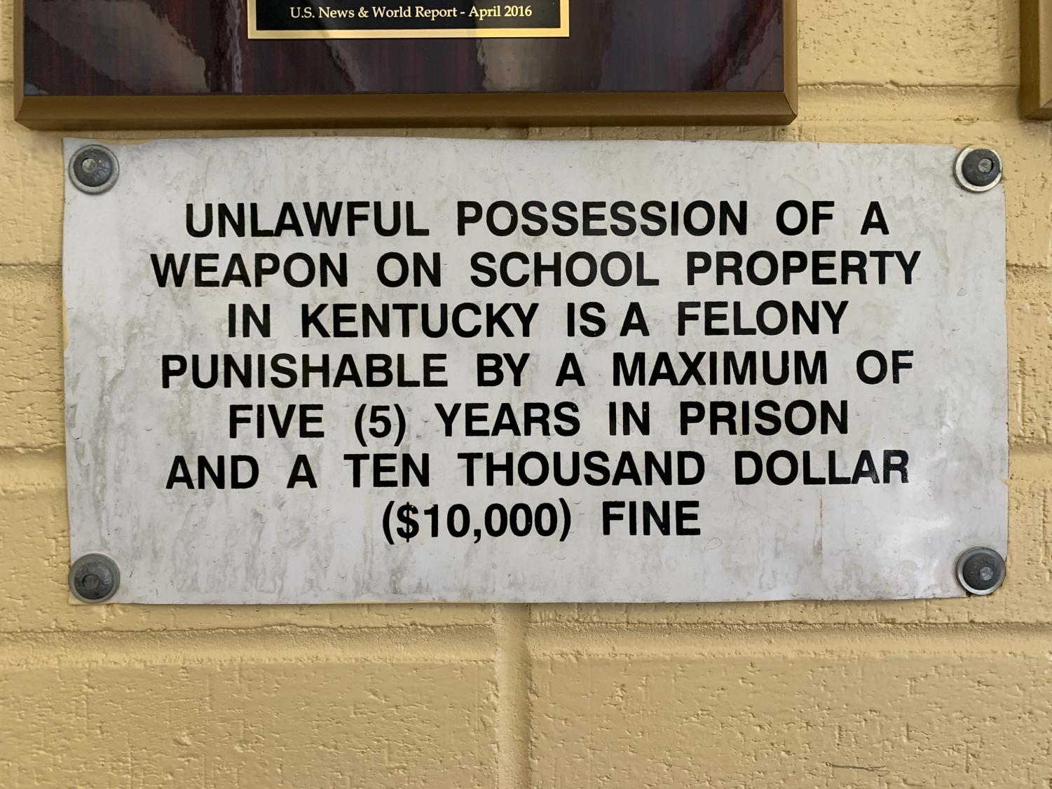 Sign posted outside of Woodford County High School.