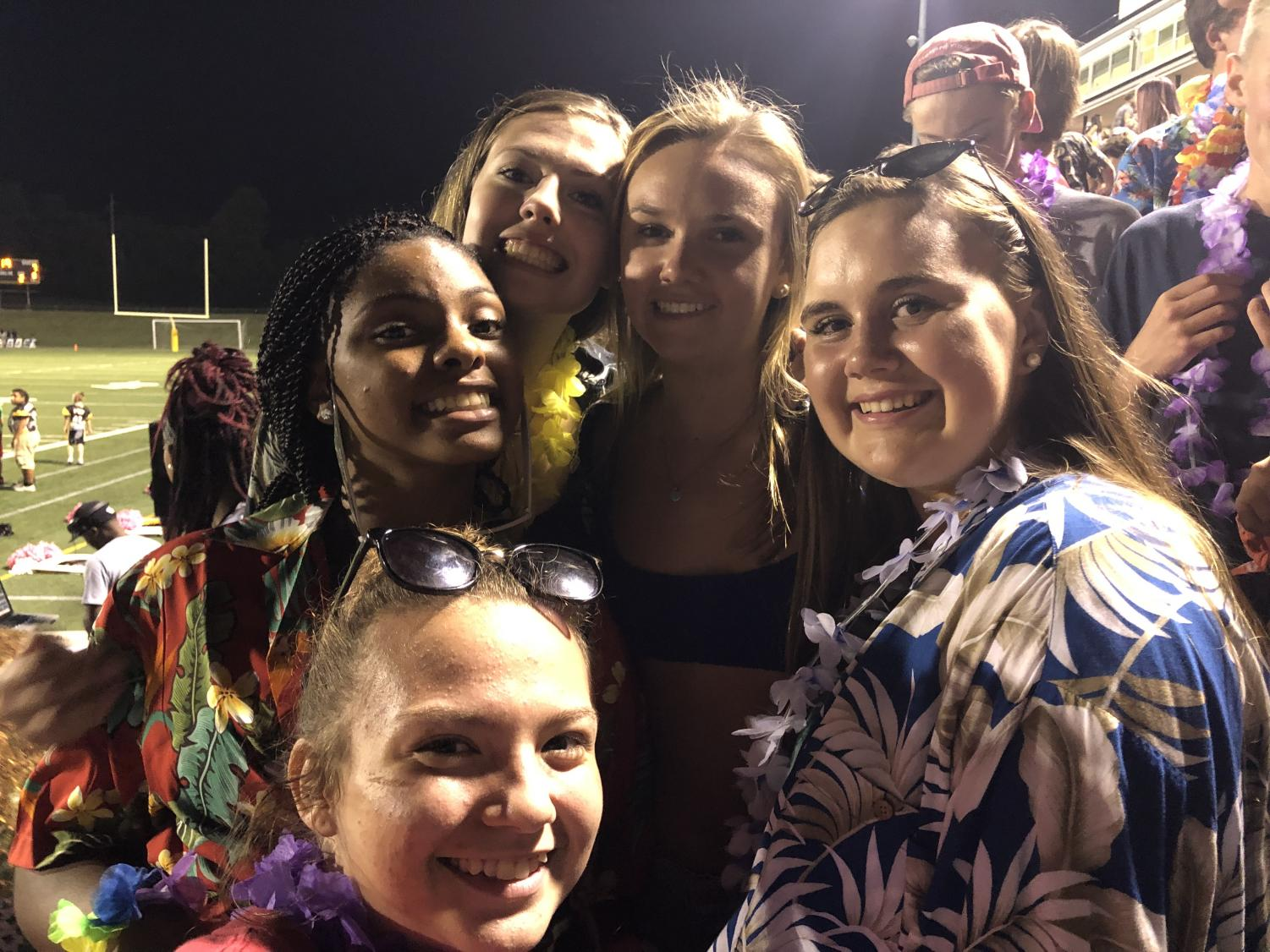 Excited students at Friday night's football game.