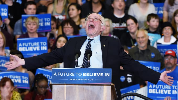 Democratic Candidate Bernie Sanders (D-VT) joking around while speaking at a campaign rally in Las Vegas, Nevada.