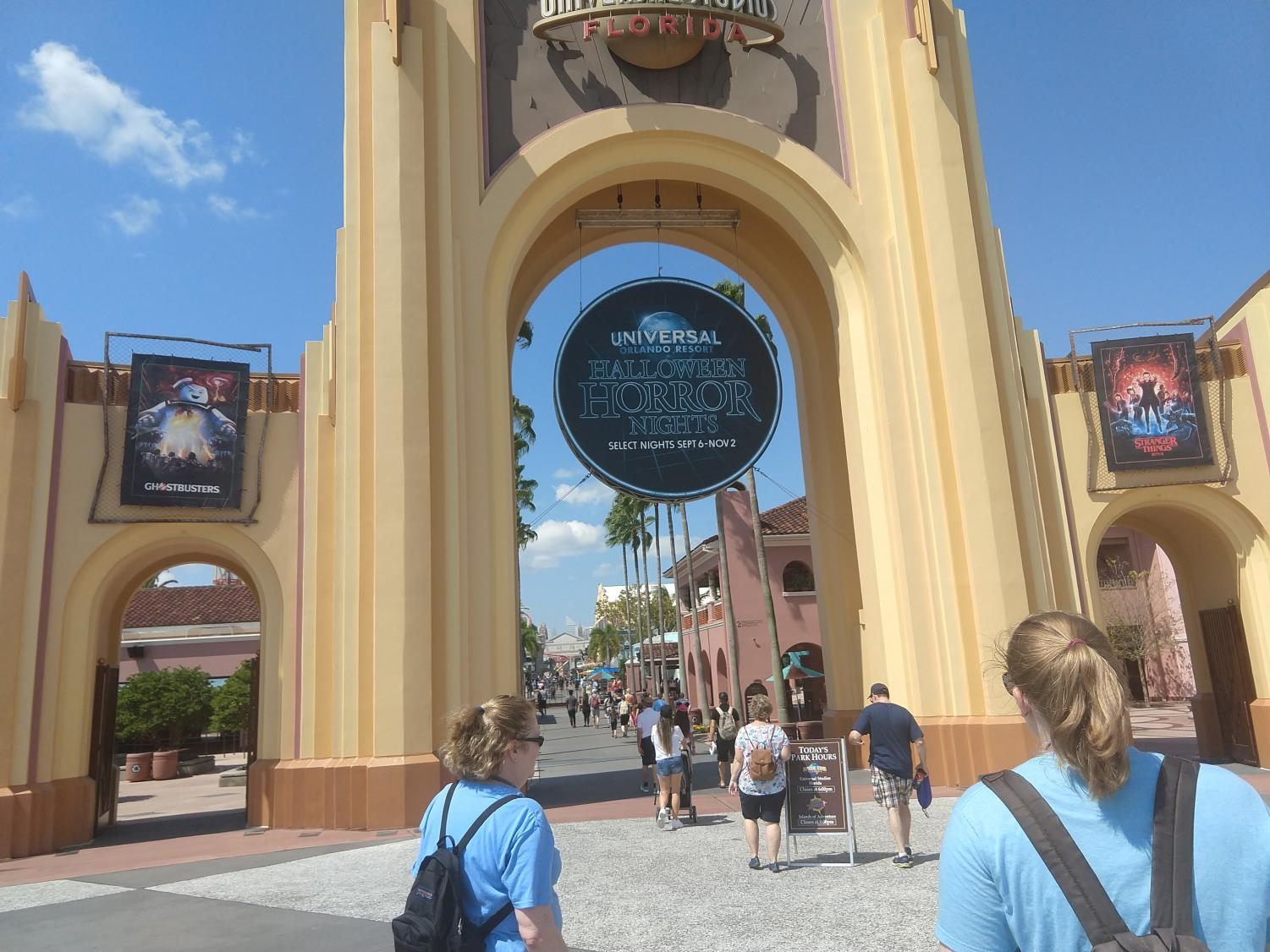 Entrance to the main Universal Studies park with banners promoting the event.