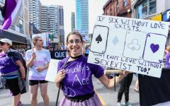 Asexuals march at the Toronto 2017 LGBTQ Pride Parade in Canada.