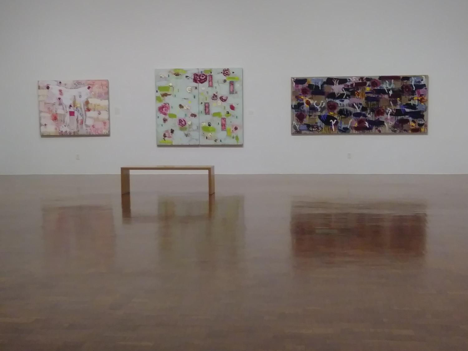 Photo of  Still, Wallflowers, Roses and Weeds (Left to Right) all created by Joan Snyder as part of the Interwoven exhibition.