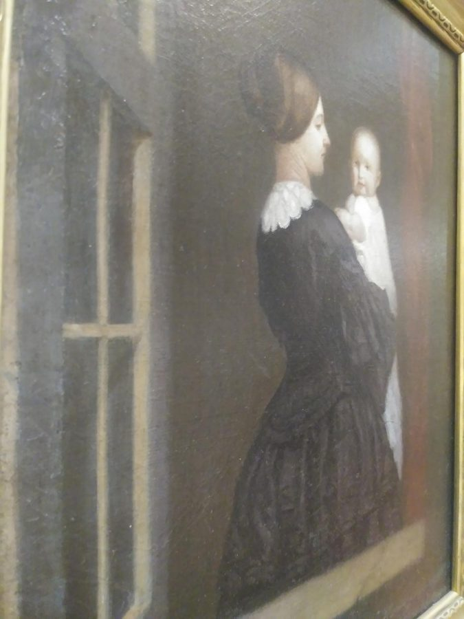 Portrait of Mary Frances Thompson Price and their Son created bt Samuel Woodson Price as part of the TLC, Part II: Conservation and the Collection Exhibition.