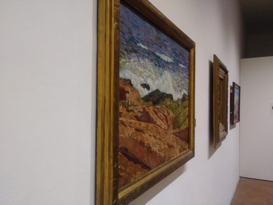 Surf and Stones, Maine created by Sudduth Goff , European created by an unknown artist, and Sausalita, California created by Clifford Amyx  as part of the TLC, Part II: Conservation and the Collection Exhibition (Right to Left).