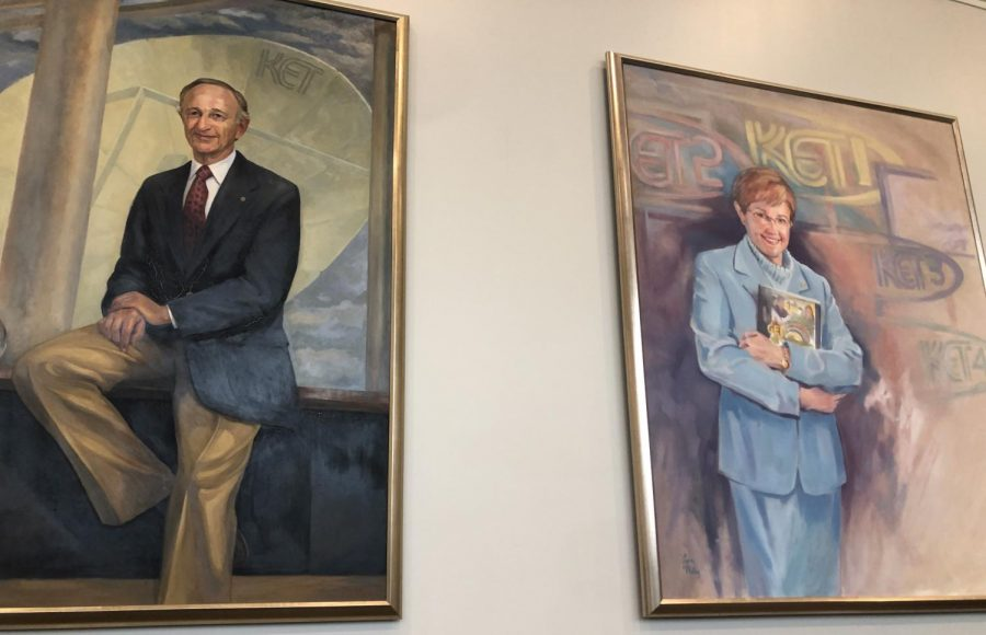 Paintings of KETs founder, O. Leonard Press and Executive Producer and CEO, Virginia Gaines Fox.
