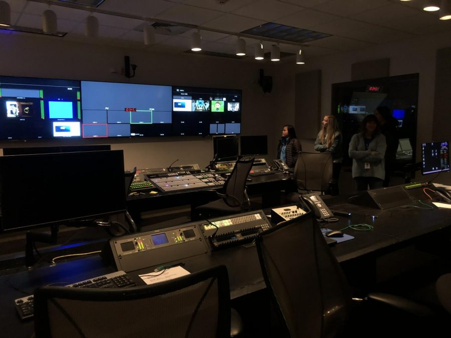 Cynthia Warner shows students the channel controls room.