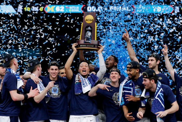 Villanova+players+celebrate+with+the+trophy+after+beating+Michigan+79-62+in+the+championship+game+of+the+Final+Four+NCAA+college+basketball+tournament.