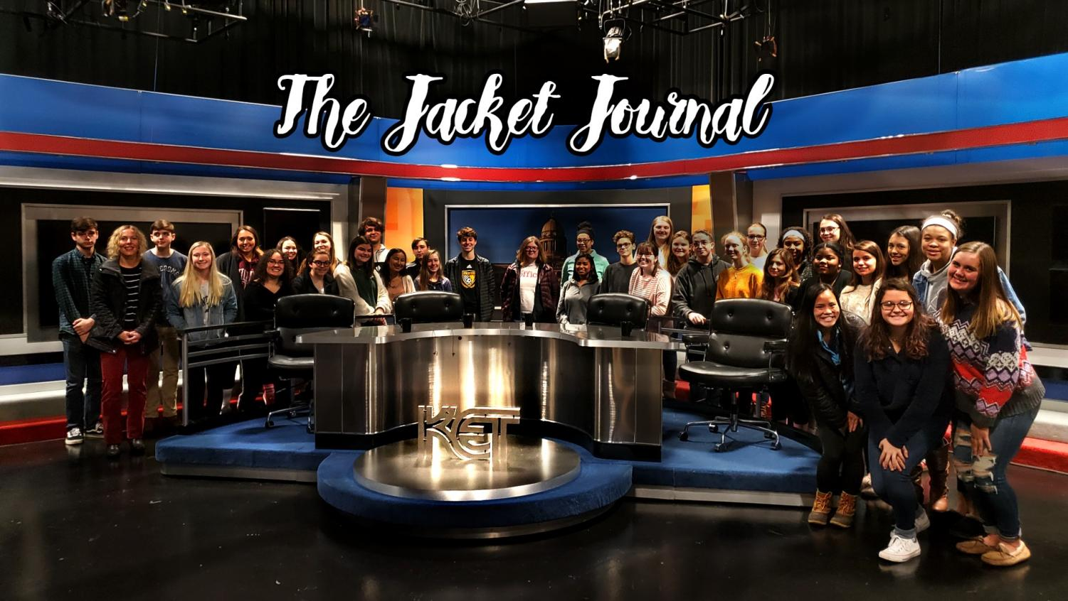 The Jacket Journal staff poses on the set of Comment on Kentucky.