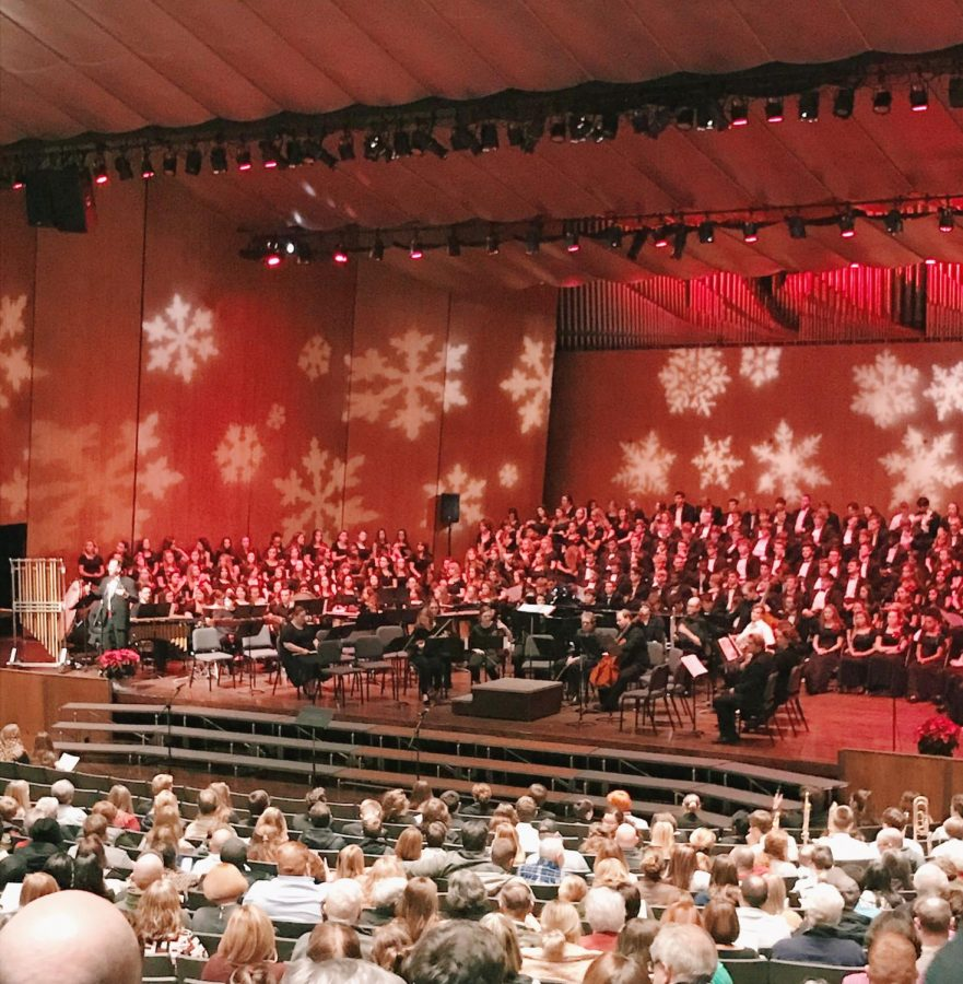 Beginning of the concert with the three choirs on stage. Photo by Kim Hayes.