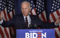 Democratic Candidate Joe Biden speaking at a rally in New Hampshire.