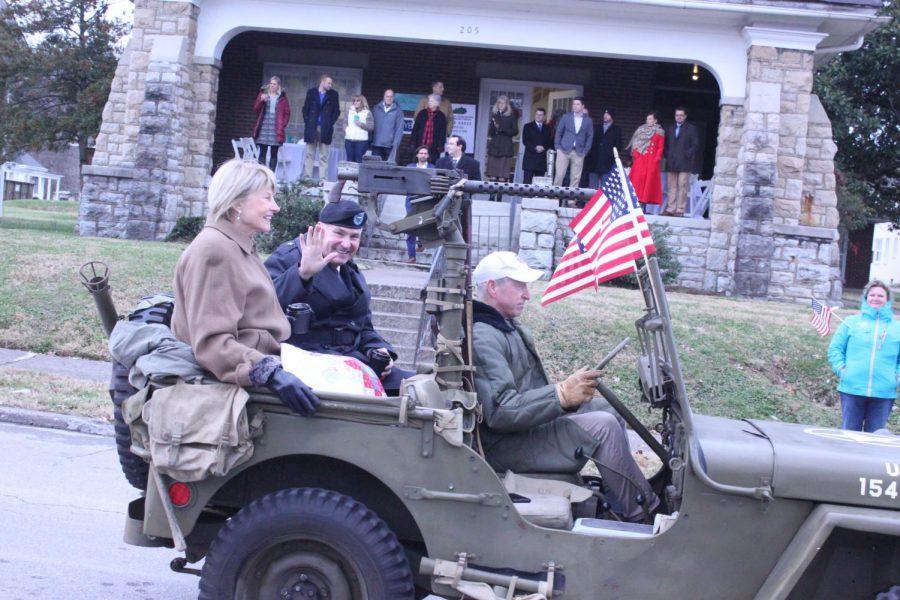 Kentucky Brigadier General Haldane B. Lamberton and his wife wave to onlookers.