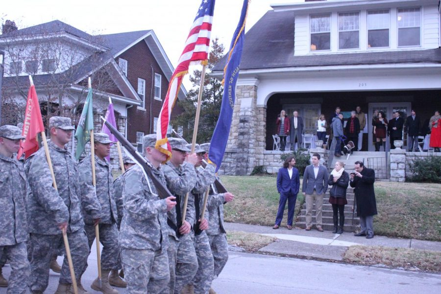 Members of the Kentucky National Guard carry the flags in the celebratory parade.