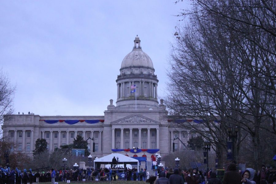 The Kentucky State Capital  Building all decked out for the inauguration.