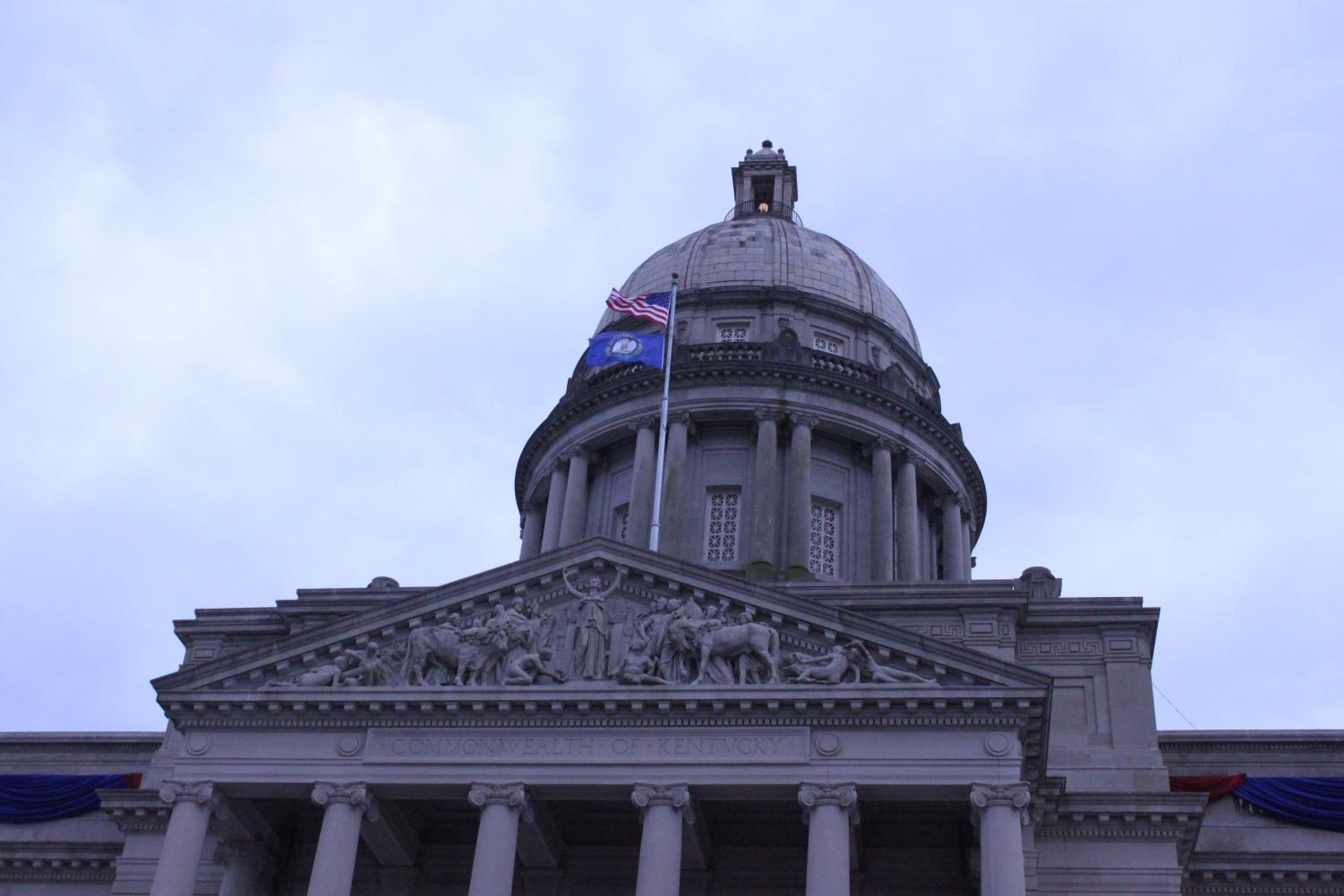 The flags fly high in celebration of the 61st Kentucky Governor's Inauguration ceremony.