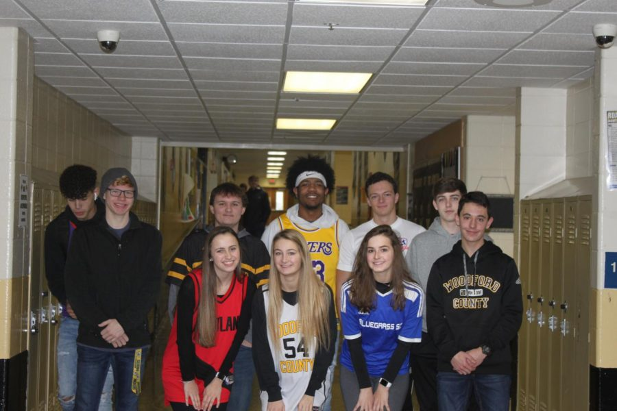 Seniors show their spirit in their athletic gear on Wednesday for Mathletes vs Athletes day!