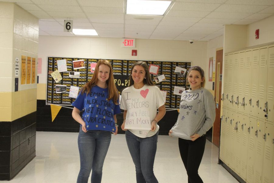 Ella Oberlander (10), Caroline Marshall (10), and Kaylen Escaloni (10) had to let their seniors know that they support them by wearing the fantastic shirts they made!