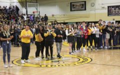 Senior athletes get called down to be recognized at the pep rally.