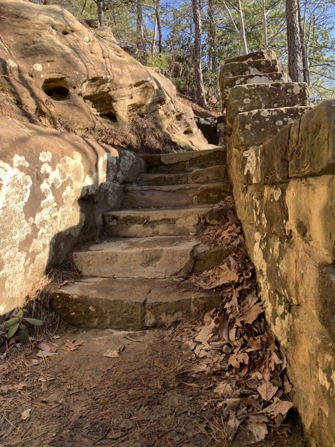 The last set of stairs as you approach the top of Natural Bridge.
