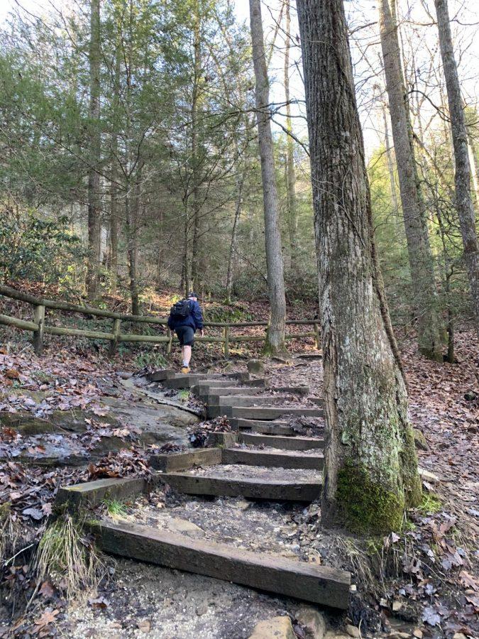 The steep climb up to Natural Bridge.