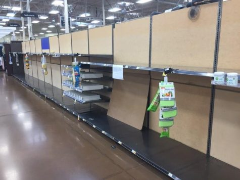 Aisle from Kroger where the toilet paper is normally located. Completely empty, all toilet paper has been sold out.