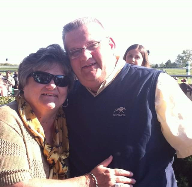 Carol and her husband Brian O'Reel at Keeneland this past year.