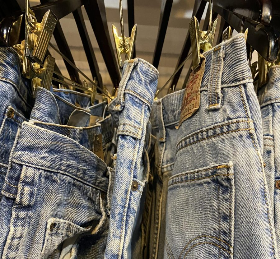 Selection of vintage jeans at Street Scene in Lexington.
