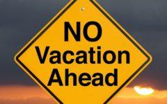 A yellow and black no vacation sign.