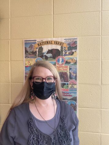 Mrs. Boss with her National Parks poster.