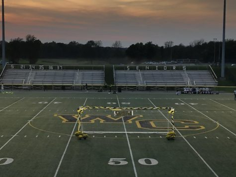 A view of the decorations put up for senior night, including the ornately decorated goal.
